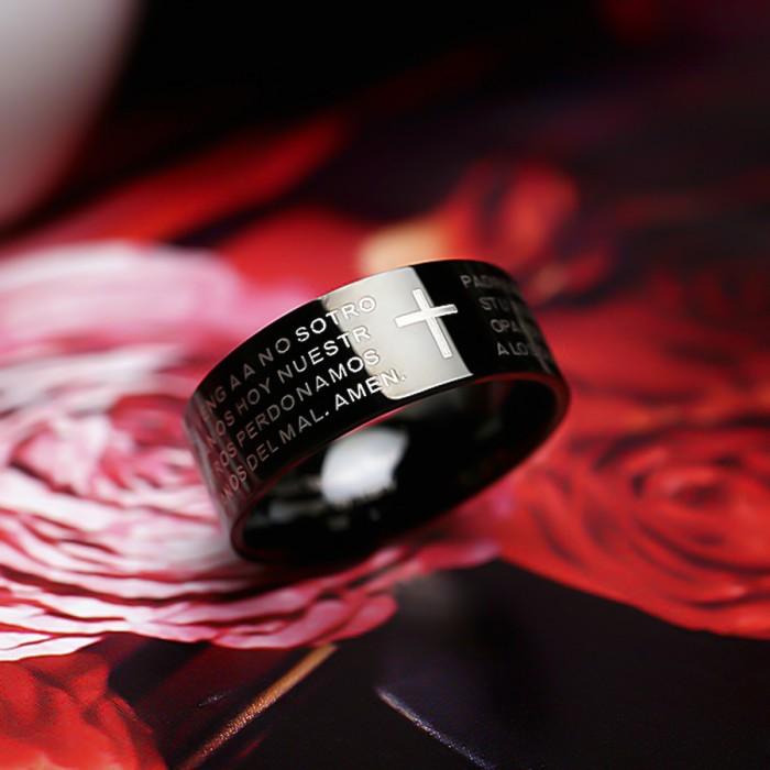 Кольцо из стали, с черной эмалью.