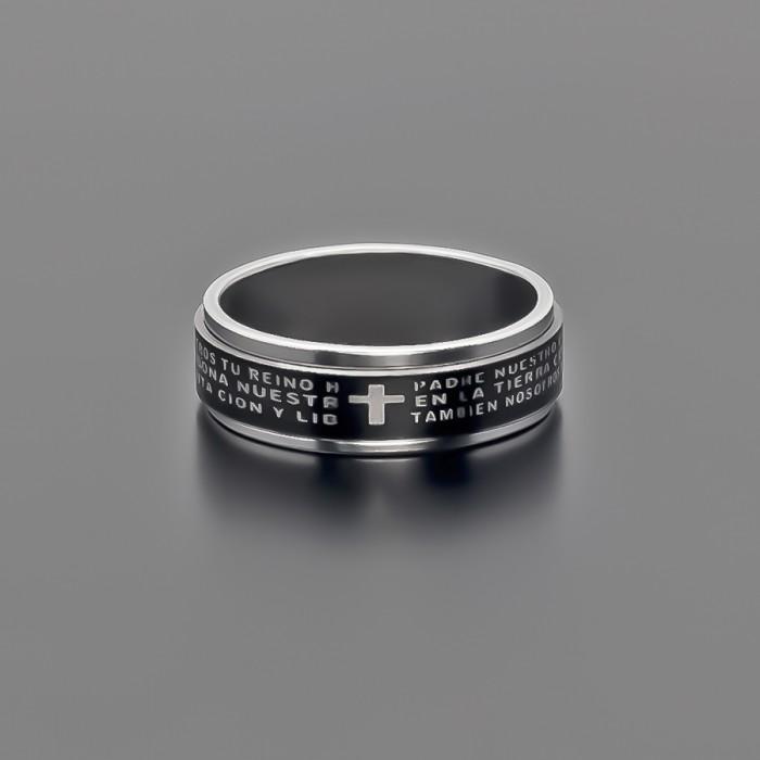 Кольцо с гравировкой. Сталь, цвет черный. Кольцо с прокруткой.