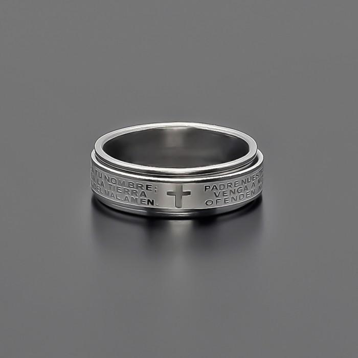 Кольцо из стали, с гравировкой. (кольцо с прокруткой)