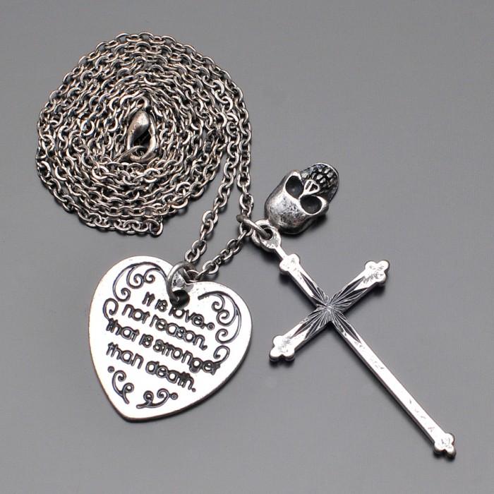 Цепочка с подвесками, крест, череп, сердце. Имитация черненого серебра.