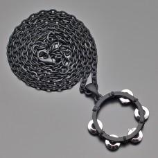 Кулон, подвеска на цепочке, в форме бубна.