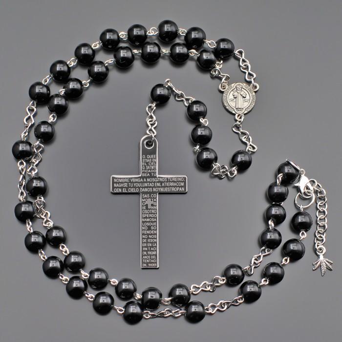 Розарий с крестом, бусы из черного марблита. Бижутерия Rico La Cara.