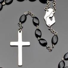 Розарий с крестом. Агат черный. Украшение на шею Rico La Cara.