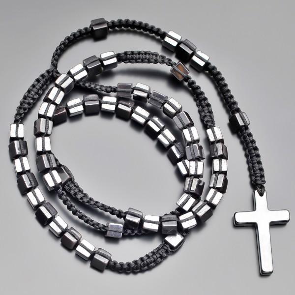 Розарий, четки с крестом. Бижутерия из натуральных камней гематита.
