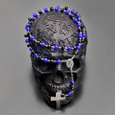 Католический розарий, бусы с крестом. Синий кошачий глаз. Rico La Cara.