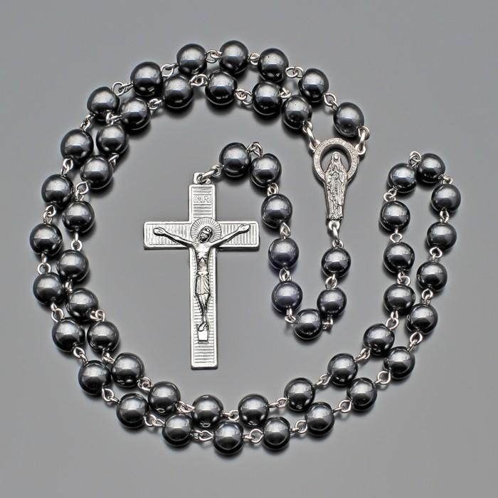 Мужской розарий, четки с крестом из камней гематита. Rico La Cara.