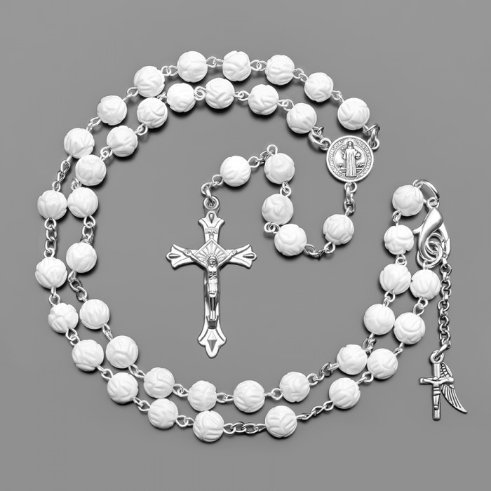 Розарий, бусы с крестом и камнями белого коралла. Rico La Cara.