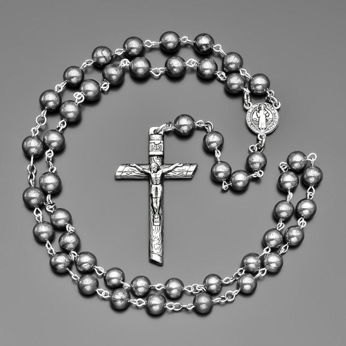 Мужской розарий с крестом, четки из камней гематита. Rico La Cara.