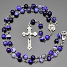 Розарий с крестом. Агат фиолетовый. Бижутерия Rico La Cara.
