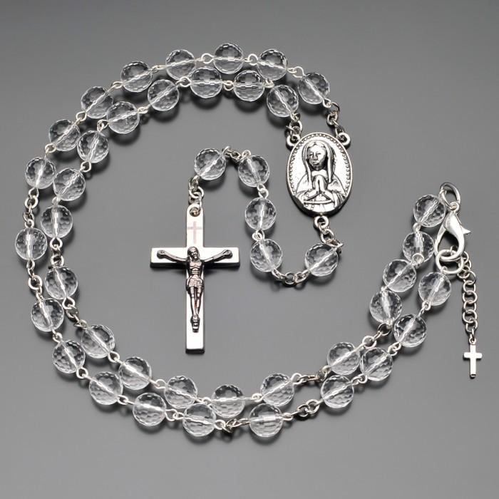Розарий с крестом,  бусы из горного хрусталя. Бижутерия Rico La Cara.