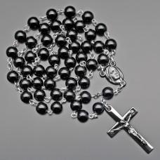 Бижутерия из натурального камня агат. Розарий, бусы с крестом.