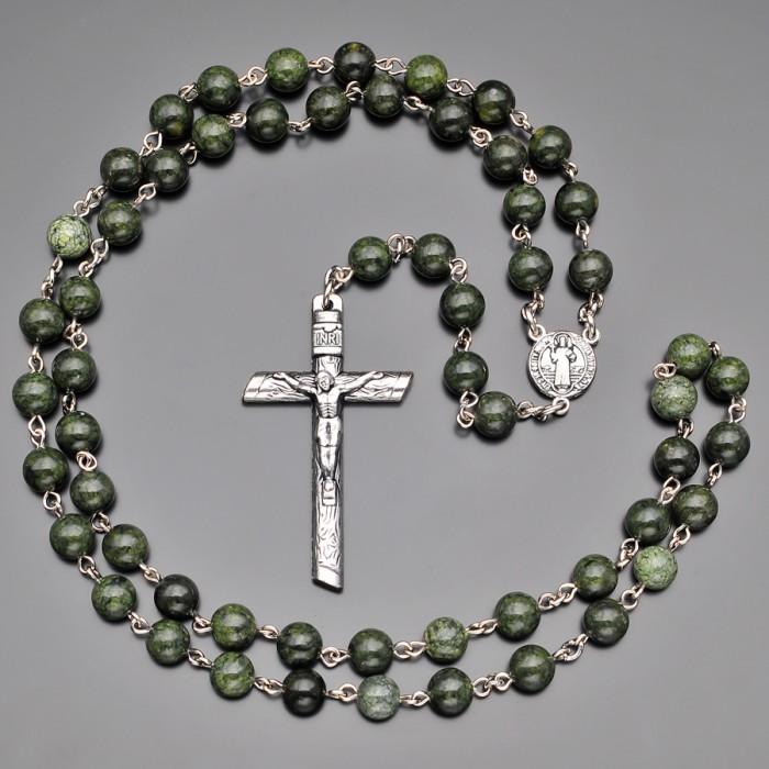 Католический розарий с крестом, бусы из камня змеевик. Rico La Cara.
