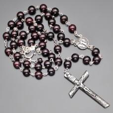 Розарий украшение с крестом. Бижутерия из камней граната.
