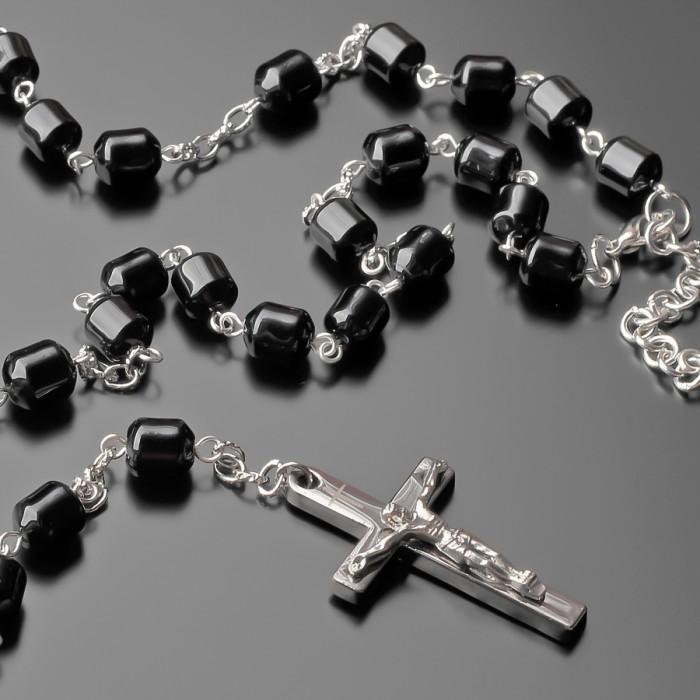 Розарий с крестом, бусы из черного агата. Украшение на шею Rico La Cara.