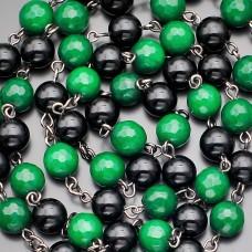 Розарий Rico La Cara бусы с крестом. Зеленый агат.