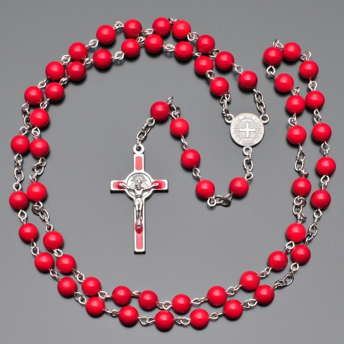 Розарий-четки с крестом, бусины из камней красный агат. Rico La Cara.