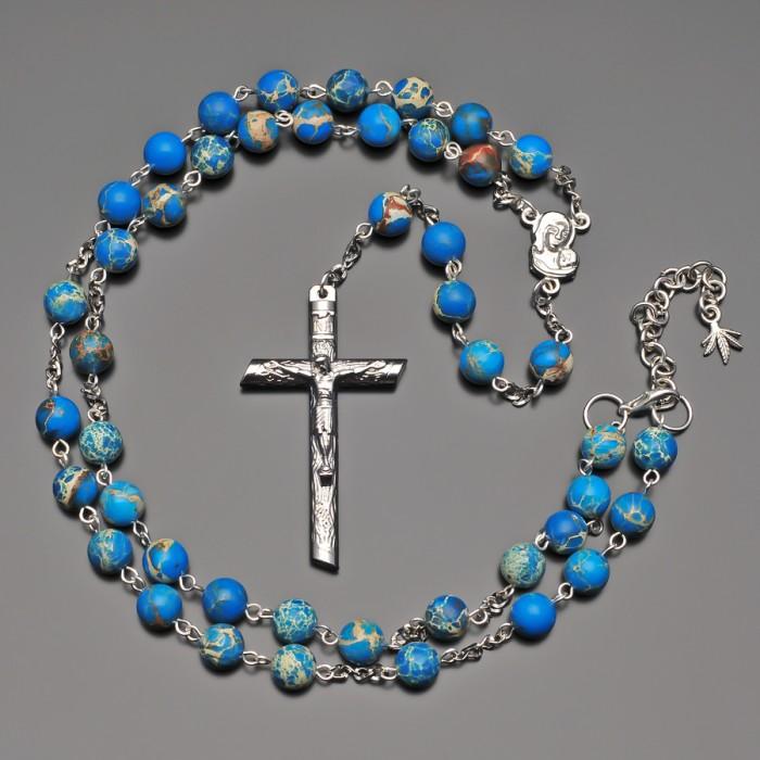 Розарий с крестом. Бусы из камня синий варисцит. Rico La Cara.