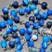 Розарий бусы с крестом и камнями синего полосатого агата. Rico La Cara.