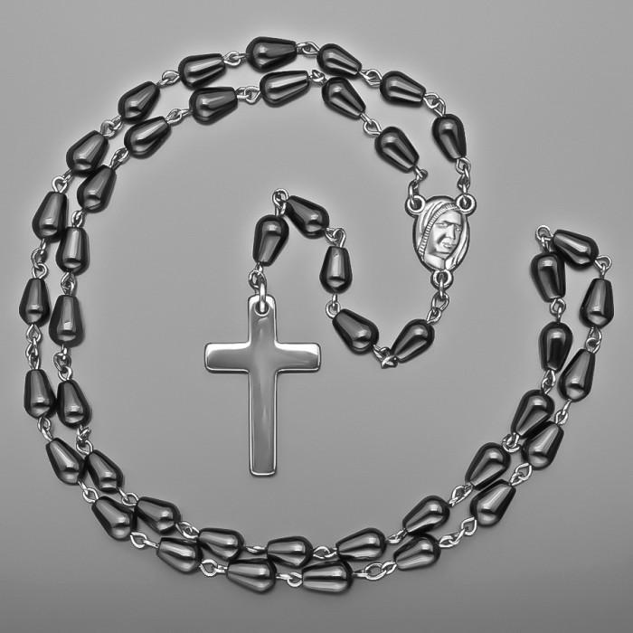Розарий, бусы с крестом. Черный агат в форме капли. Rico La Cara.