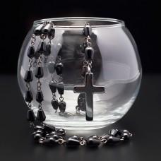 Розарий с крестом. Rico La Cara. Черный агат в форме капли.