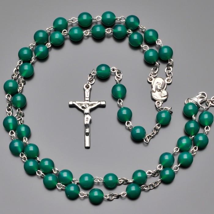 Розарий Rico La Cara, бусы с крестом и камнями зеленый хризопраз.