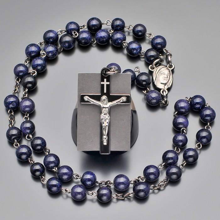 Розарий, бусы с крестом и камнями синий авантюрин. Rico La Cara.
