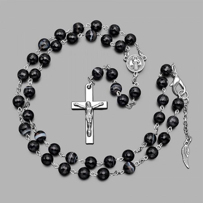 Розарий Rico la Cara, бусы с крестом и камнями черный агат.
