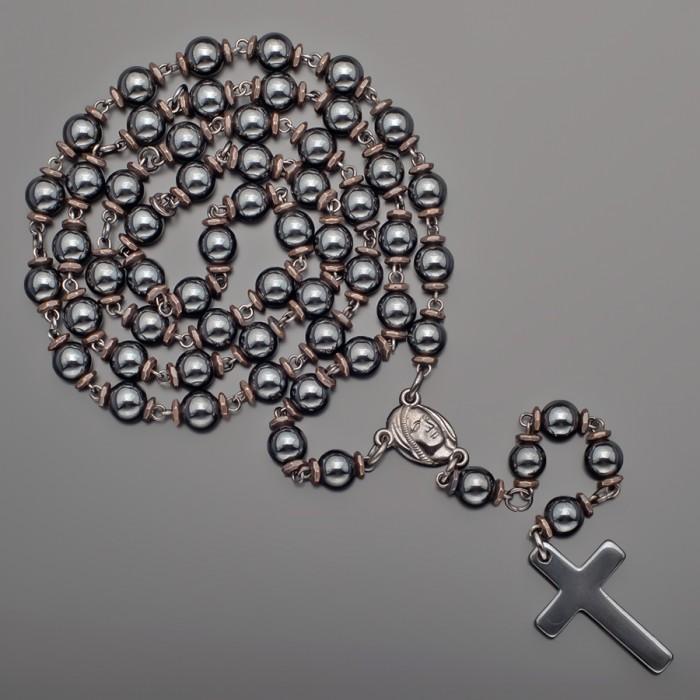 Украшение из гематита, розарий, бусы мужские с крестом. Rico La Cara.