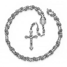HOGER. Мужской розарий с крестом и камнями гематита.