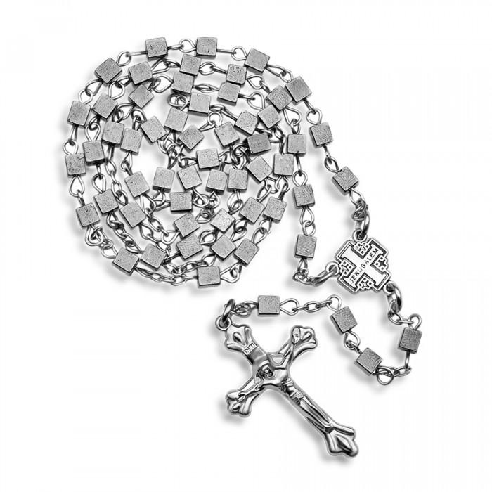 HOGER. Мужской розарий с крестом и камнями гематита в форме куба.