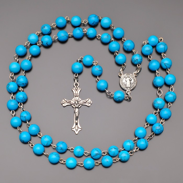 Розарий с крестом, бусы с камнями бирюзы. Бижутерия Rico La Cara.