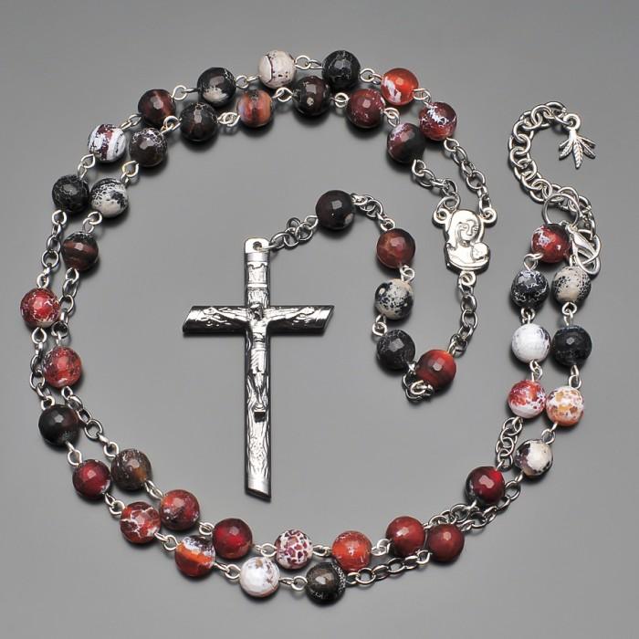 Rico La Cara розарий, бусы с крестом и камнями африканского агата.