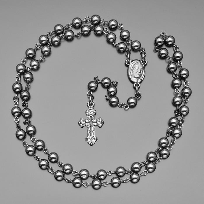 Розарий с крестом, бусы из камней гематита 6mm. Rico La Cara.