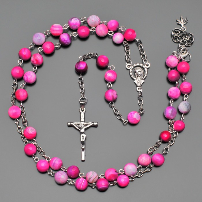 Розарий, бусы из камней, розовый коралл. Бижутерия Rico La Cara.