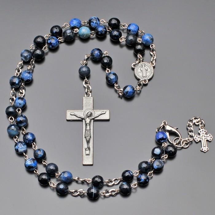 Розарий с крестом, бусы из камней синий агат. Бижутерия Rico la Cara.
