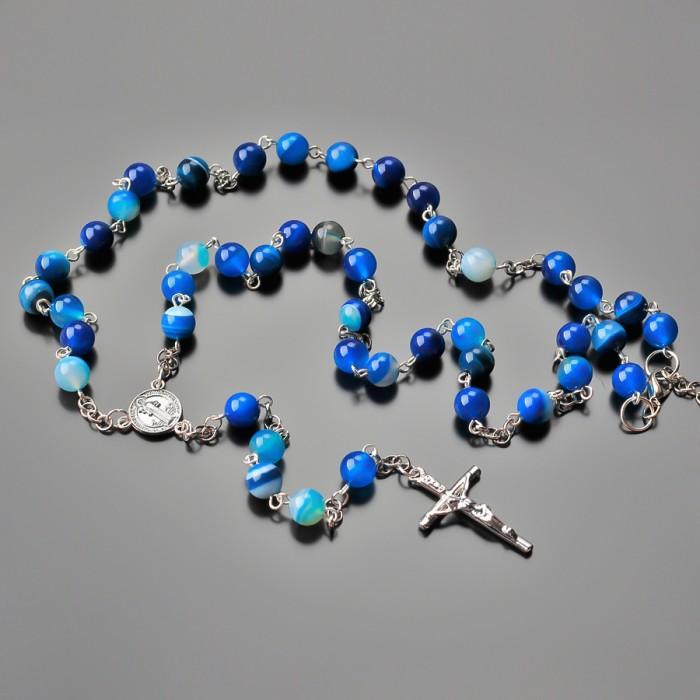 Бусы, розарий из натуральных камней синего агата. Rico La Cara.