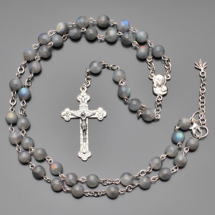 Розарий, бусы с крестом и камнями лабрадор. Украшение Rico La Cara.