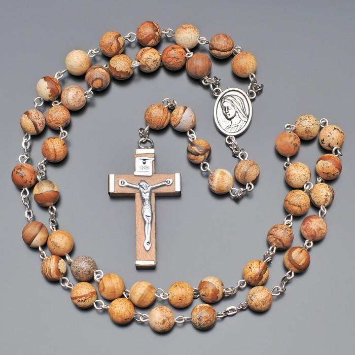 Rico La Cara мужские бусы, розарий из натуральных камней яшмы.