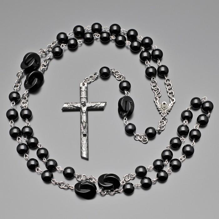 Мужские бусы с крестом, розарий с камнями агата. Rico La Cara.