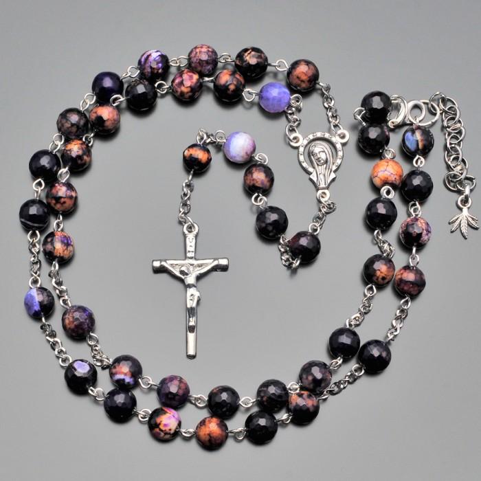 Rico La Cara, украшение из камней агата. Розарий бусы с крестом.