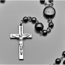 Rico La Cara бусы, розарий с крестом из стали и камнями агата.