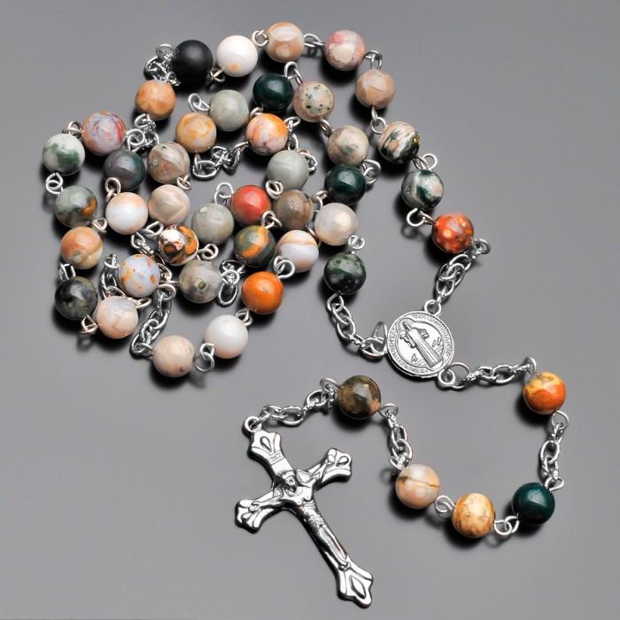 Розарий, бусы из натуральных камней яшма. Бижутерия Rico La Cara.