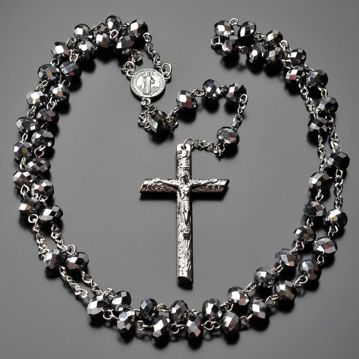 Католический розарий из зеркального стекляруса. Бижутерия Rico La Cara.