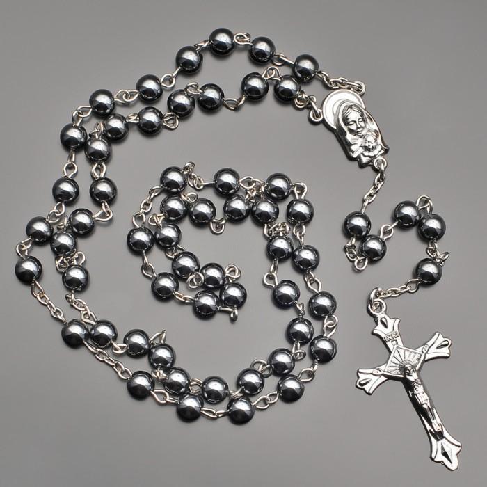 Розарий, бусы Девы Марии. Из натуральных камней гематита.