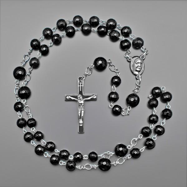 Rico La Cara розарий бусы с крестом, украшение с гранеными камнями агат.