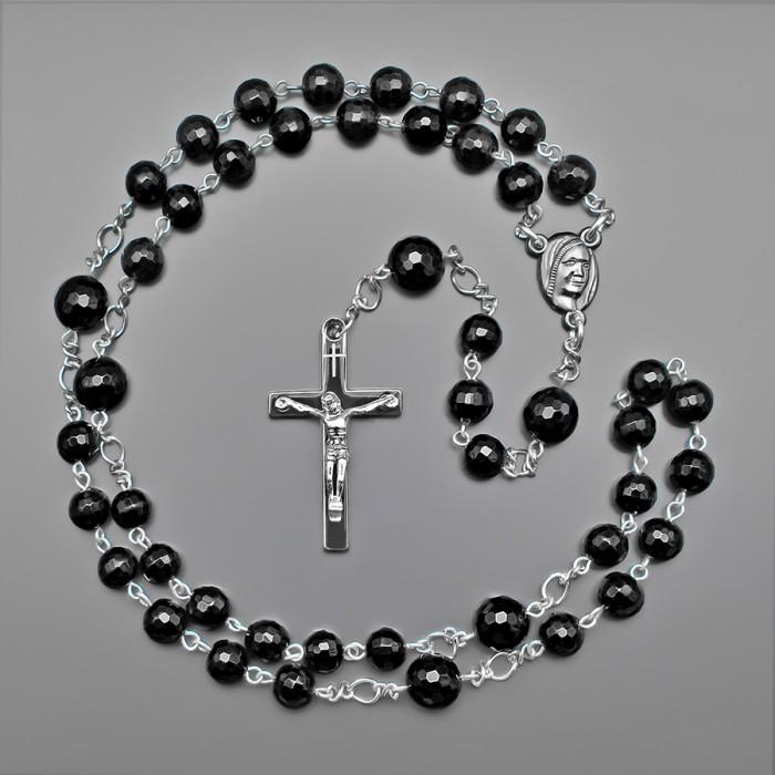 Розарий Rico La Cara, бусы с крестом. Украшение на шею с камнями агат.