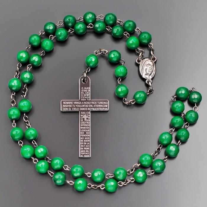 Розарий с крестом. Бусы из камня зеленый агат. Бижутерия Rico La Cara.