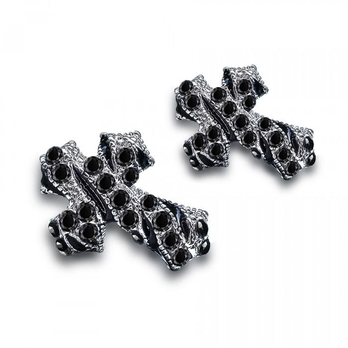 Серьги в форме креста, из ювелирного сплава и черного фианита.